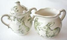 Maxcera Green White Toile Spring Floral Easter Bunny Rabbit Creamer Sugar Set