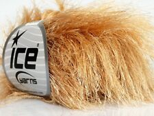 38Yd Latte Beige Extra Long Eyelash Yarn 42068 Ice Luxurious Blonde Fun Fur 50gr