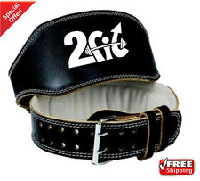 "2Fit Leather 6""Belt Weight Lifting GYM Training Body Building Back Support SMALL"