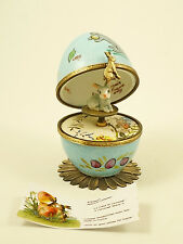 PLAYS MUSIC BOX NEW FRENCH LIMOGES TRINKET BOX EGG W/ EASTER BUNNY RABBIT KEY