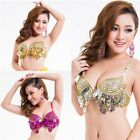 Pro Tribal Bra Cup Sequin Dance Costume Belly Dancing Bra Beaded Fringe Top Sexy