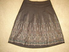 Ann Taylor Loft brown pleated short skirt embroidered border trim lined 10