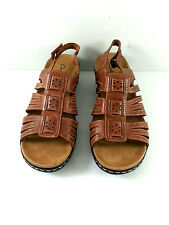 Clarks Leather Upper Womens Brown Sandals Size 11W New Without Box