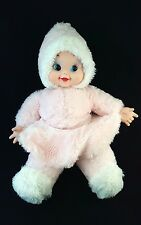"""Vintage Rubber Face Hands Plush Baby Doll Pink 19"""" Tall 50's Stuffed Doll"""
