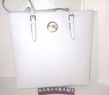 Michael Kors Jet Set Large Optic White NS Saffiano Leather Travel Tote Bag  $278