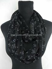 US Seller- winter fall womens cute butterfly double loop infinity scarf