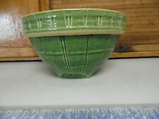 McCoy Green Stoneware WINDOWPANE MIXING BOWL Yellow ware #9 Shield Mark