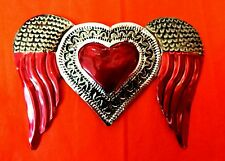 Authentic Mexican Tin Folk Art Natural & Red Heart w/ Wings Milagro Decoration