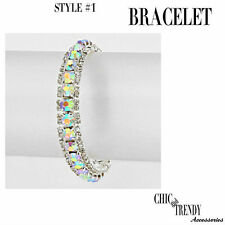 CLASSIC AURORA BOREALIS CRYSTAL BRACELET PROM FORMAL WEDDING CHIC TRENDY JEWELRY