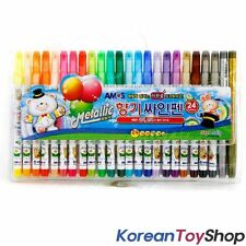 AMOS 24 Colored Scented Coloring Felt Tip Pens w/ Gold Silver, KoreanToyShop