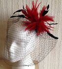 red feather black veiling fascinator millinery hair clip ascot wedding bridal