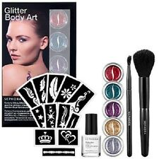 NIB Sephora Collection Glitter Body Art Kit Tattoo Stencils Glue Glitter Brushes