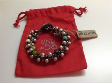 NWT Uno de 50 Leather/Silvertone And Multi Color Beaded Bracelet 7.5""