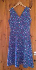 Vintage Blue Floral Dress/Sundress/1940's/50's/60's/Retro/Full Skirt