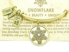 "Wind And Fire ""Snowflake"" Charm Wire Bangle Stackable Bracelet Made In The USA"