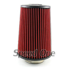 "3"" Inlet Car Long Ram Cold Air Intake Filter Cone Filter Red Universal KN Types"
