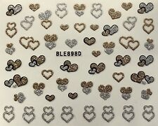 Nail Art 3D Decal Stickers Valentine's Day Gold & Silver Hearts BLE898D