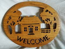 Wood scroll saw cut Welcome sign cabin home house, initialed dated handmade