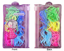 120Pcs Elastics Silicon Ribbons Loom Bands Girls Women Bowls Mini PVC 2Bag Purse