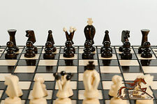 GREAT ''THE KINGDOM'' WOODEN CHESS & DRAUGHTS SET! STUNNING HAND CRAFTED 35x35cm