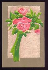 Heavy Embossed ROSES Silk and Fur Fabric Vintage Postcard