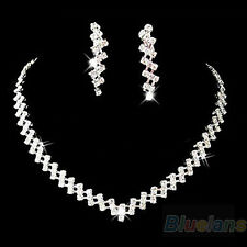 NEW WEDDING PROM JEWELRY CRYSTAL RHINESTONE DIAMANTE NECKLACE & EARRING SET BD9K