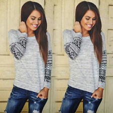 Womens Long Sleeve Shirt Casual Lace Blouse Loose Cotton Tops T Shirt