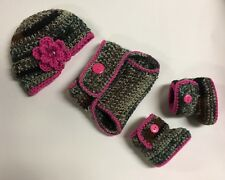 Newborn Baby Girl Crochet Camouflage Hunting Hat Diaper Cover Booties Photo Prop