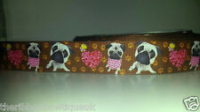 "1 yard 25mm (1"")wide BROWN WHITE/BLACK FRENCH BULLDOG PUG PAW GROSGRAIN RIBBON"