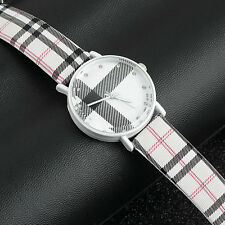 Fashion Plaid Leatheroid Watch Women Men's Sport Casual Quartz Wristwatch FL