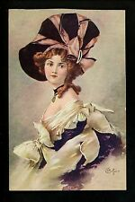 Artist Signed Vintage postcard Gottaro woman w/ Merry Widow Hat