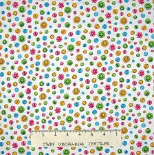 Sewing Fabric - Cute As A Button Toss White - Henry Glass YARD
