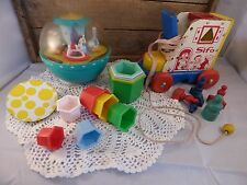 Vtg TOYS: SIFO WOODEN SHOE/ ROLY POLY CHIME BALL/ HEXAGON NESTING BLOCKS/ BABY