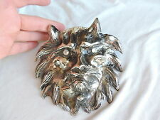 Vintage HUGE LALOON Lion Cat Belt Buckle Jewelry WEREWOLF Rhinestone Eyes