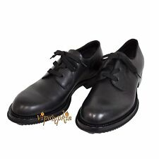 PRADA VITELLO RODEO BLACK LEATHER LACED DERBY SHOES 2EG100 NEW 10 US 43 EU