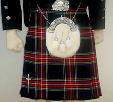 Scottish | Black Stewart Tartan Heavy Kilt & Kilt Pin | Geoffrey