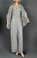 SIZE SMALL GRAY LACE & BEADED PALAZZO PANTS, BUSTIER AND MATCHING BLOUSE SET