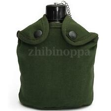 Aluminum Army Camping Military Patrol Water Bottle Canteen+Green Cover+Cup