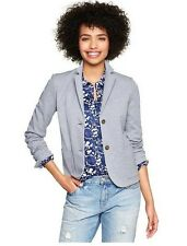 NWT GAP WOMENS 10 CLASSIC MINI STRIPE PONTE 2 BUTTON ACADEMY BLAZER JACKET BLUE