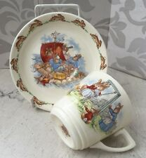 Vintage Royal Doulton Bunnykins Cup & Saucer Rabbits on Raft & Couple on Swing