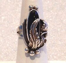 Vintage Sterling Silver Natural Black Onyx Nakai Grape Leaf Ring Sz 6