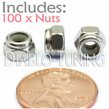 M4-0.7 / 4mm - Qty 100 - Nylon Insert Hex Lock Nut DIN 985 - A2 Stainless Steel