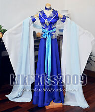 China Tang Kimono Fairy Dancing Dress White&Blue Custom Made Chinese Han Fu