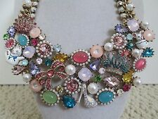 NWT Auth Betsey Johnson Princess Charming Crown Bow Shoe Bib Statement Necklace