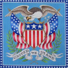 NEEDLEPOINT HandPainted Canvas Amanda Lawford UNITED We STAND USA Patriotic 18M