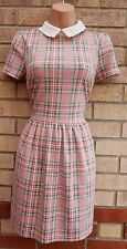 BLUE VANILLA PINK BLUE YELLOW TARTAN CHECK CHECKED SKATER A LINE DRESS S M