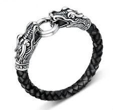 Lederarmband Leder Armband Edelstahl Flechtarmband Herren Drachenköpfe Tibet