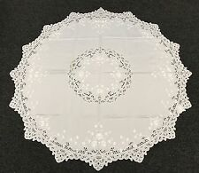 """72x72"""" Round Embroidery Cutwork Embroidered Tablecloth w/ Napkins Elegant Linen"""