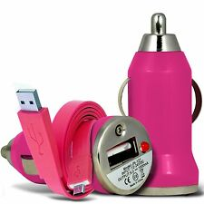 Pink Single Port USB Car Charger & Flat Data Cable For Samsung Galaxy S3 Mini