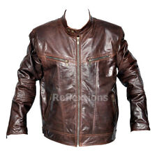 Mens Fashion Leather Jacket Antique Brown Trendy Rough and Tough Jacket
